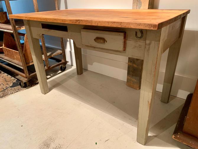 """Vintage painted table/desk, 4' w, 30"""" d x 32.75"""", $350."""