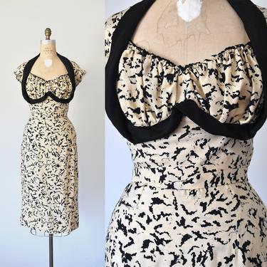 Ava silk 1950s dress, pinup silk dress,  50s novelty print, marilyn monroe by ErstwhileStyle