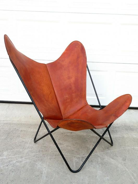 TRUE VTG Mid Century IRON LEATHER BKF BUTTERFLY HARDOY LOUNGE CHAIR Artek Knoll