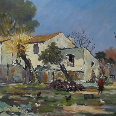 Maurice Jaque O/C 1961, French Farm Scene by ArtloversFinds