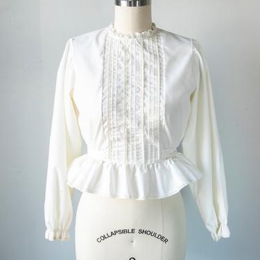 1970s Blouse Cropped Tie Top XS by dejavintageboutique