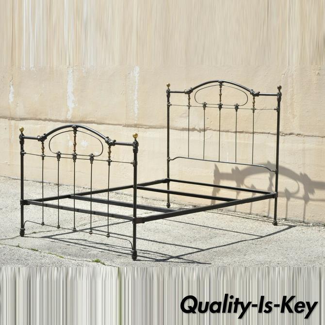 Antique Victorian Cast Iron Brass Steel Queen Size Bed Frame with Brass Finials