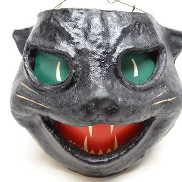 1940's Black Cat Head Halloween Lantern, made with Pulp Paper Mache, Vintage Retro Decor, Antique by exploremag