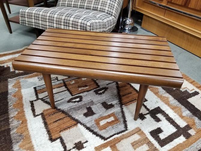 Mid-Century Modern small slat bench