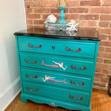 Little Mermaid Hand Painted Petite Chest of Drawers