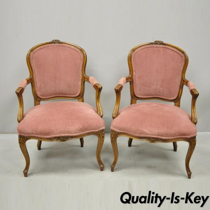 Pair of Antique French Provincial Louis XV Style Carved Walnut Small Arm Chairs