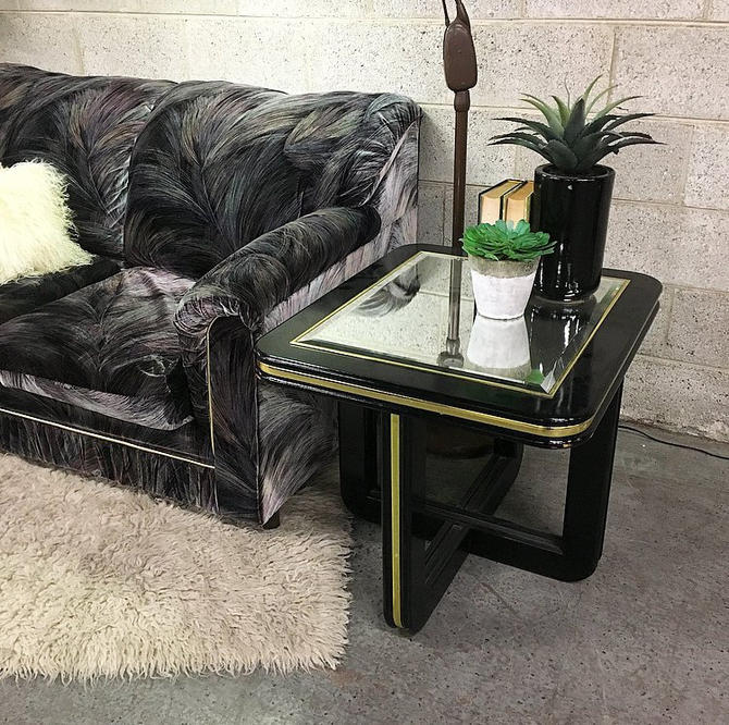 LOCAL PICKUP ONLY Vintage Mirrored End Table Retro 1980's Black and Gold Lacquered Rectangular Side Table with Beveled Glass Insert by RetrospectVintage215