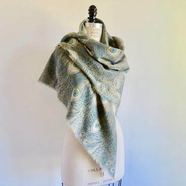 Liberty of London Fine Wool Shawl Wrap Large Scarf Hera Peacock Feather Design Art Nouveau Pattern Blues and Greens by seekcollect