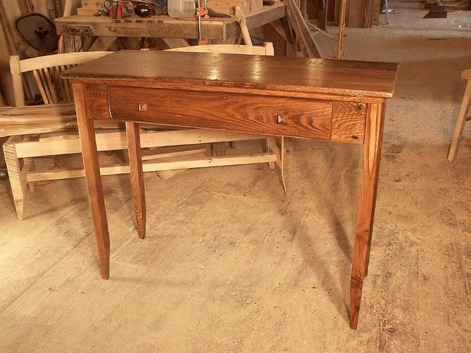 Reclaimed Chestnut Writing Desk with Drawer by BarnWoodFurniture