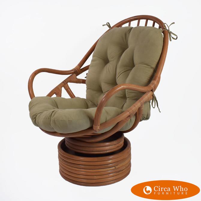 Papasan Style Swivel Chair