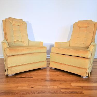 Mid Century Pair of High Back Tufted Lounge Chairs by ProRefineFurnishings