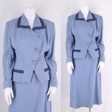 40s dusty blue WWII era skirt suit sz M / vintage 1940s gabardine blazer jacket skirt outfit sz 8 -10 by ritualvintage