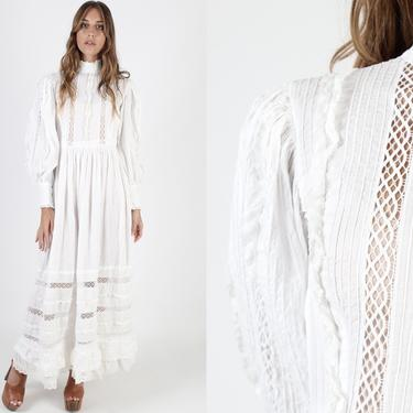 White Mexican Wedding Dress Vintage 70s Country Bridal Ceremony Dress Solid Color Sheer Lace Puff Sleeve Folk Festival Maxi Dress by americanarchive