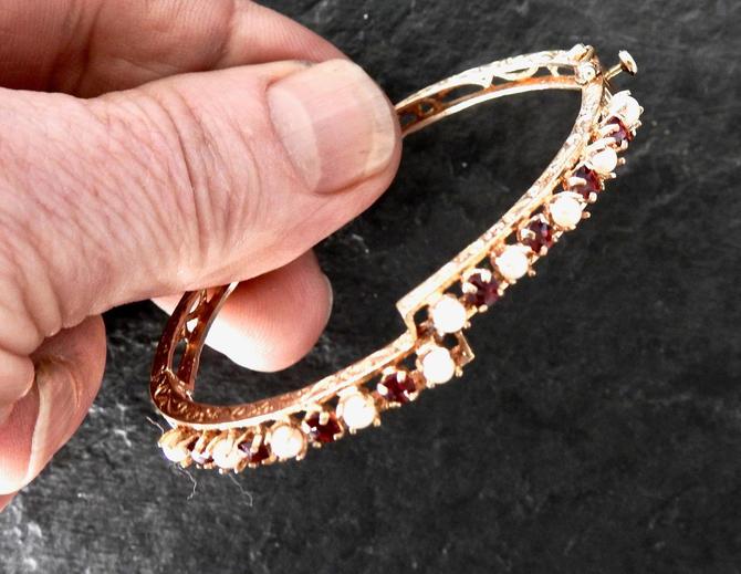 14K Etched Gold, Garnet, Pearl Bangle/ Cuff Bracelet by LegendaryBeast