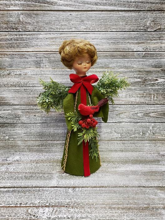 Vintage Christmas Angel, Holiday Centerpiece, Green Felted Angel Holding Red Christmas Cardinal, Retro Christmas Decor, Vintage Holiday by AGoGoVintage
