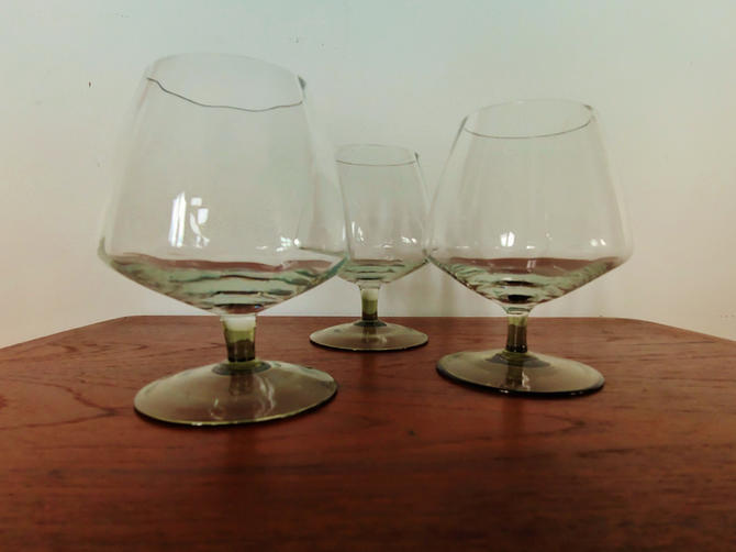 Set of 3 Mid Century Modern Coupe Dessert Wine Glasses by