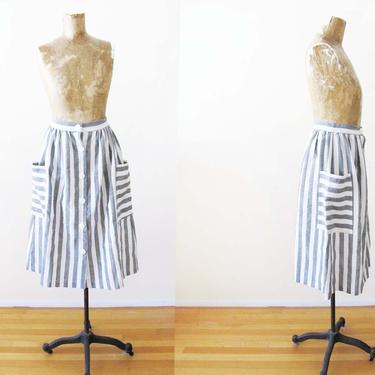 Vintage 80s Striped Skirt XS 24 - 1980s Gray White Stripe Skirt - Button Front High Waist Skirt - Pocket Skirt - Full Peasant Skirt by MILKTEETHS