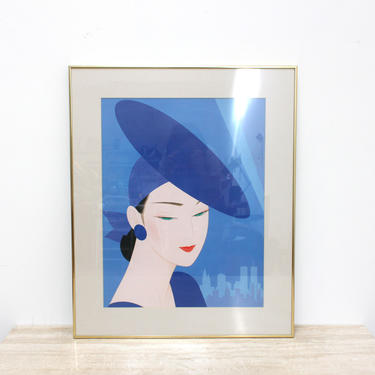Ichiro Tsuruta Silkscreened Print Serigraph 80s 90s Japanese Women Fashion Blue by 330ModernAntique