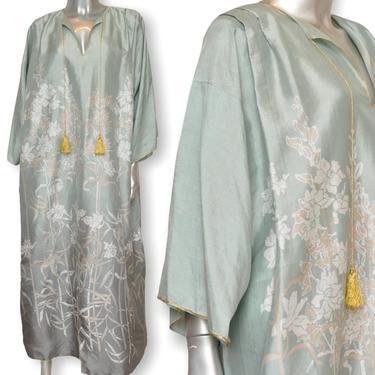 Vintage Teal Green Womens Silk Kaftan Dress OSFA Floral Print Muumuu Loungewear by TheUnapologeticSoul