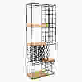 Arthur Umanoff Modern Wrought Iron Wood Wine Rack