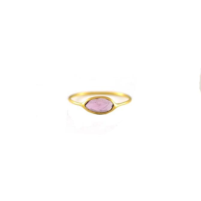 Pink Tourmaline Slice Ring