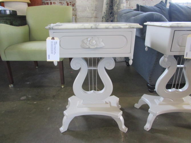 PAIR SOLD SEPARATELY VINTAGE PAINTED SIDE TABLES WITH MARBLE TOPS