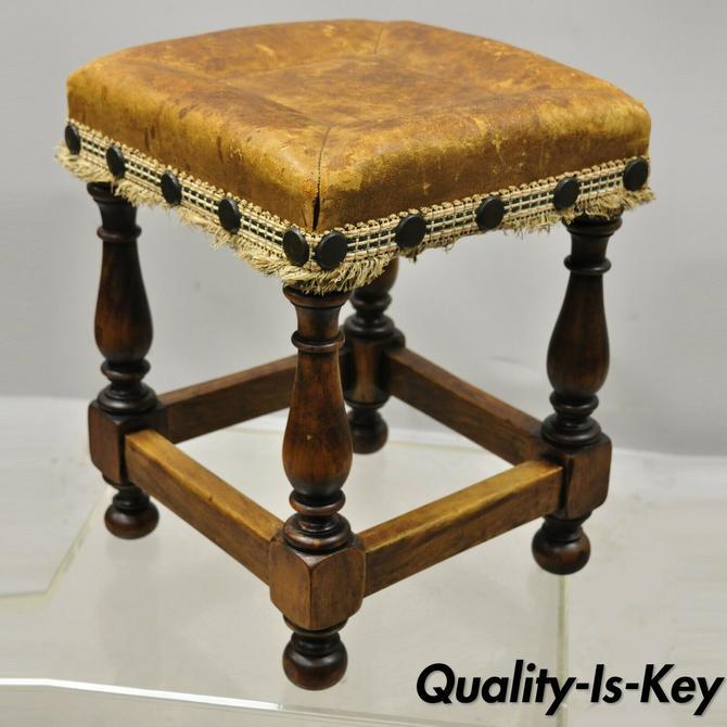 Spanish Renaissance Brown Distressed Leather Walnut Footstool Stool Ottoman