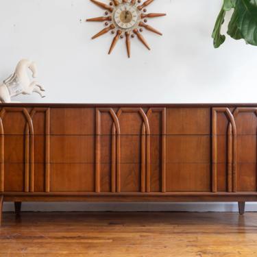 Vintage Walnut 9-Drawer Lowboy Dresser by Red Lion by blinkmodern