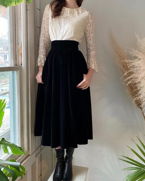 70s YSL Velvet Skirt