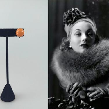 Never Drop the Ball - Vintage 1930s 1940s Butterscotch Orange Bakelite Ball Screw Back Earrings by RoadsLessTravelled2