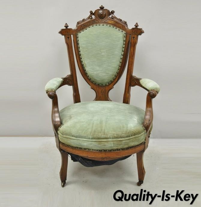 Antique Eastlake Victorian Green Carved Walnut Parlor Arm Chair