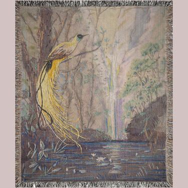 """Birds Nature Woven Blanket ~ """"Birds Of Paradise"""" Woven Blanket ~ Vintage Inspired Woven Blanket ~ Tropical ~ Throw Blanket ~ Wall Tapestery by DareToBeVintage"""