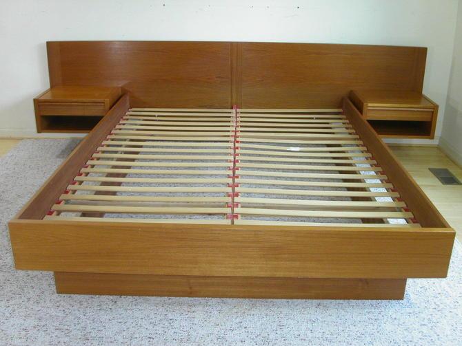 Teak Danish Modern Queen Sz Platform Bed + Floating Nightstands by Jesper