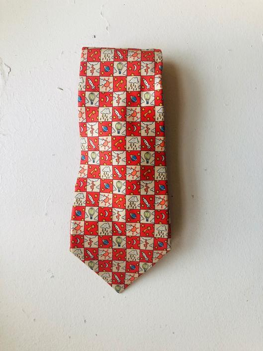 Vintage Hermes Weather Pattern Orange/Salmon Coral and Cream Silk Tie, Made in France by BlackcurrantPreserve