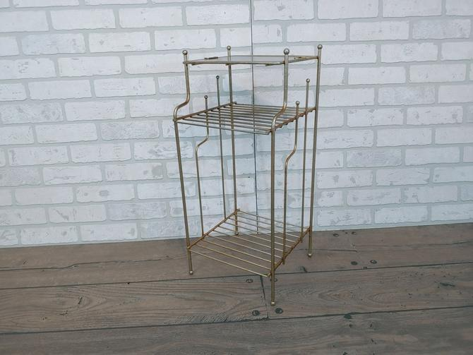 Mid Century Brass and Faux Wood Record/Magazine/Telephone Side Table by RedsRustyRelics