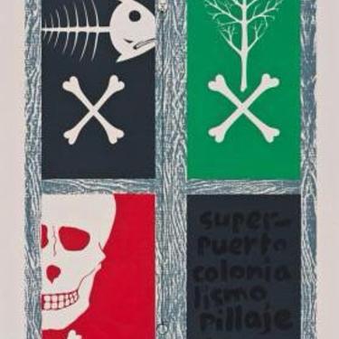 Polítical Art Print 1970s Taller Bija modernist mid century Puerto Rico Art Vintage Rare by CaribeCasualShop