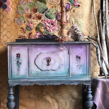 HOLD Painted Sideboard Buffet - Bohemian Cabinet - Hand Painted Buffet Table - Bar - Server - Boho Chic Buffet Cabinet - Entryway Table by DareToBeVintage