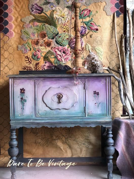Hold Painted Sideboard Buffet Bohemian Cabinet Hand Table Bar Server
