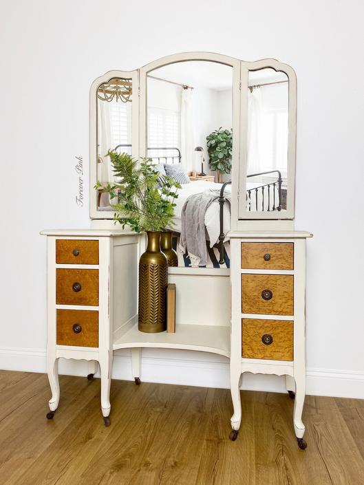 NEW - Vintage Farmhouse Vanity with Trifold Mirror, Antique Dressing Table, Trifold Vanity, Bedroom Furniture by ForeverPinkVintage