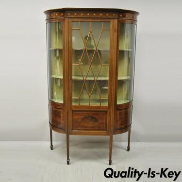 English Edwardian Satinwood Inlay Bowed Curved Glass China Display Cabinet Curio