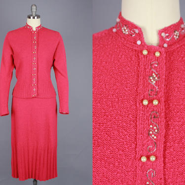 1940s Pink SNYDERKNIT Set   Vintage 40s 50s Wool Two Piece Skirt & Sweater   medium by RelicVintageSF