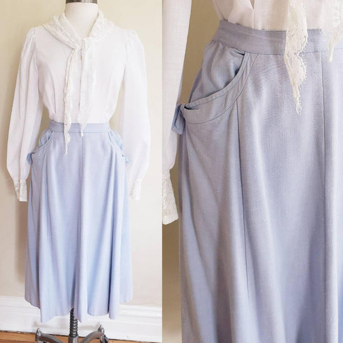 1950s Blue Cotton Blend Skirt  A LIne / 50s Midi Skirt Barry Ashley Cute Pockets with Bows / Plus Size XL by RareJuleVintage