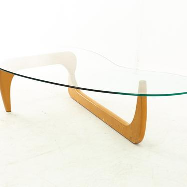 Isamu Noguchi Style Mid Century Blonde and Glass Coffee Table - mcm by ModernHill