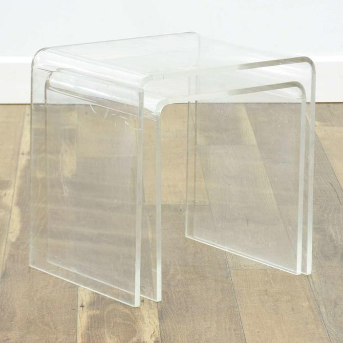 Pair Of Modernist Nesting Waterfall Lucite End Tables