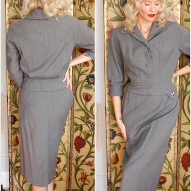 1950s Suit // Bramson Grey Wool 2pc Suit // vintage 50s suit by dethrosevintage