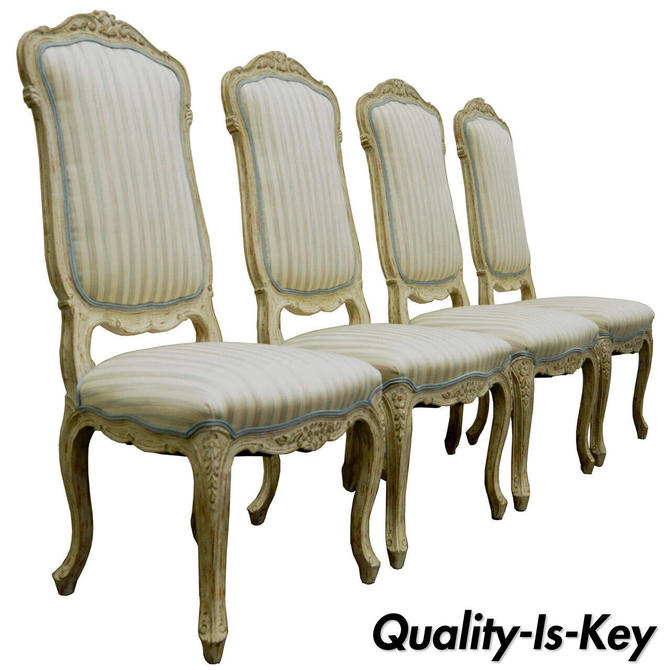 4 Vintage Swedish Rococo French Louis XV Style Distress Painted Dining Chairs