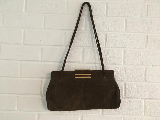 Vintage Ruth Saltz Handbag Mossy Green Suede Leather Shoulder Purse NOS with Tags Handbag Retro by CheckEngineVintage