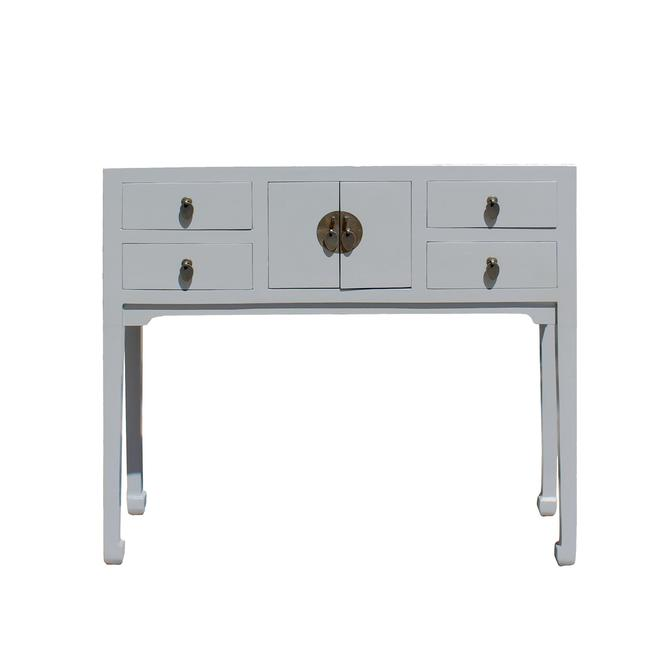 Chinese Semi Gloss Gray Wood Plain 4 Drawers Side Table cs5794E by GoldenLotusAntiques