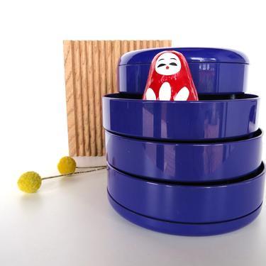 Post Modern Interdesign Plastic Swivel Desk Organizer In Purple, Mod Plastic Rotating Drawer Jewelry Box by HerVintageCrush