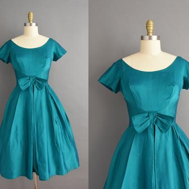 vintage 1950s | Gorgeous Jewel Tone Green Satin Bridesmaid Cocktail Party Full Skirt Dress | Small | 50s dress by simplicityisbliss